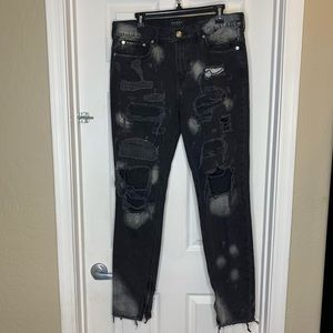 PacSun Stacked Skinny Distressed Black Jeans